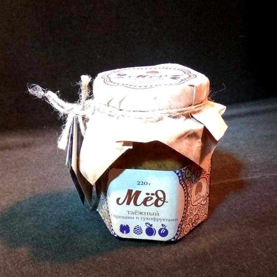 Сиб. кедр Мёд таёжный  с орехами и сухофруктами 220г