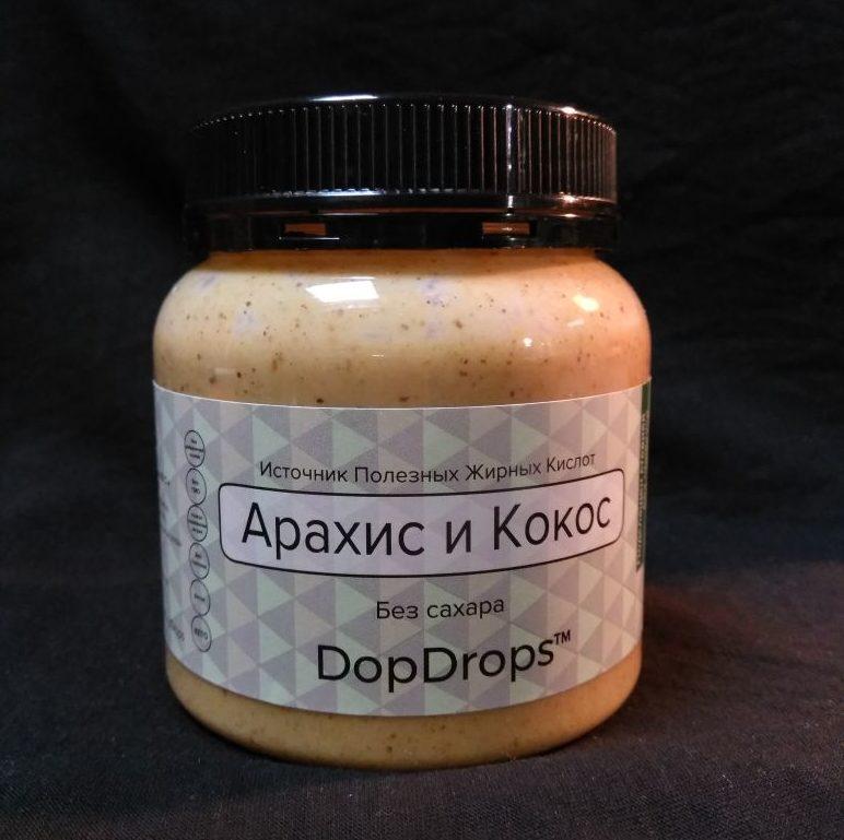 DopDrops Арахисовая паста с кокосом со стевией 250г.